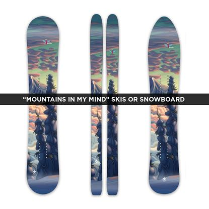 """Mountains In My Mind"" Custom Skis, Snowboard or Splitboard"
